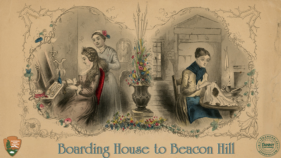 Boarding House to Beacon Hill.  Two illustrations of women.  Women on the left sitting with a maid at a dressing table, the woman on the right, knitting, wearing torn clothes