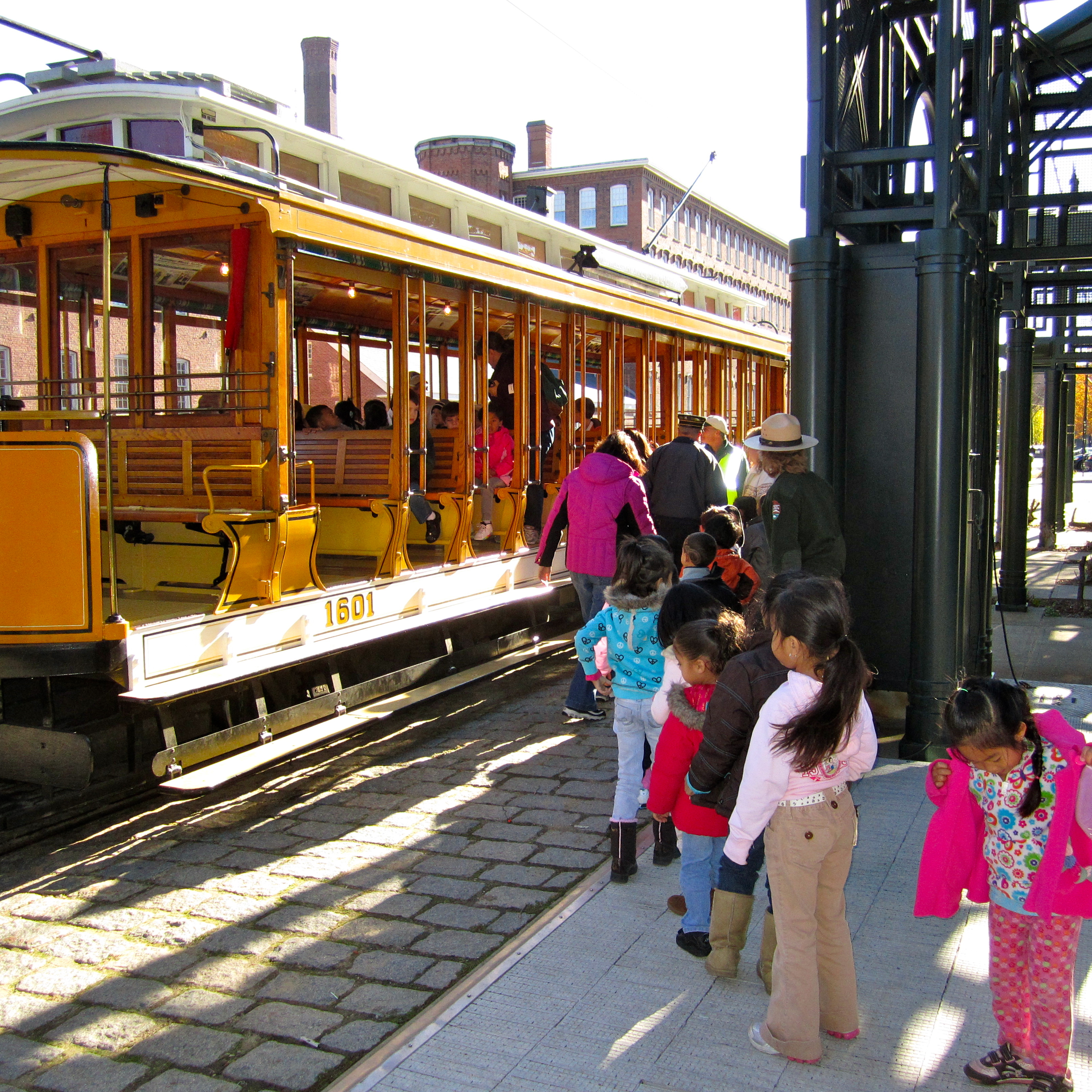 CW Morey Students board the Lowell NHP Trolley
