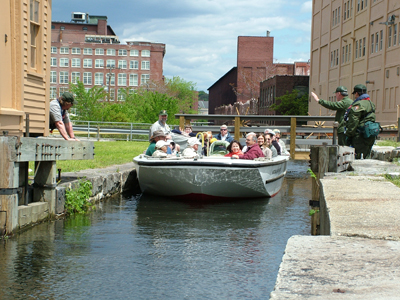 Lowell National Historical Park canal passes through Swamp Locks