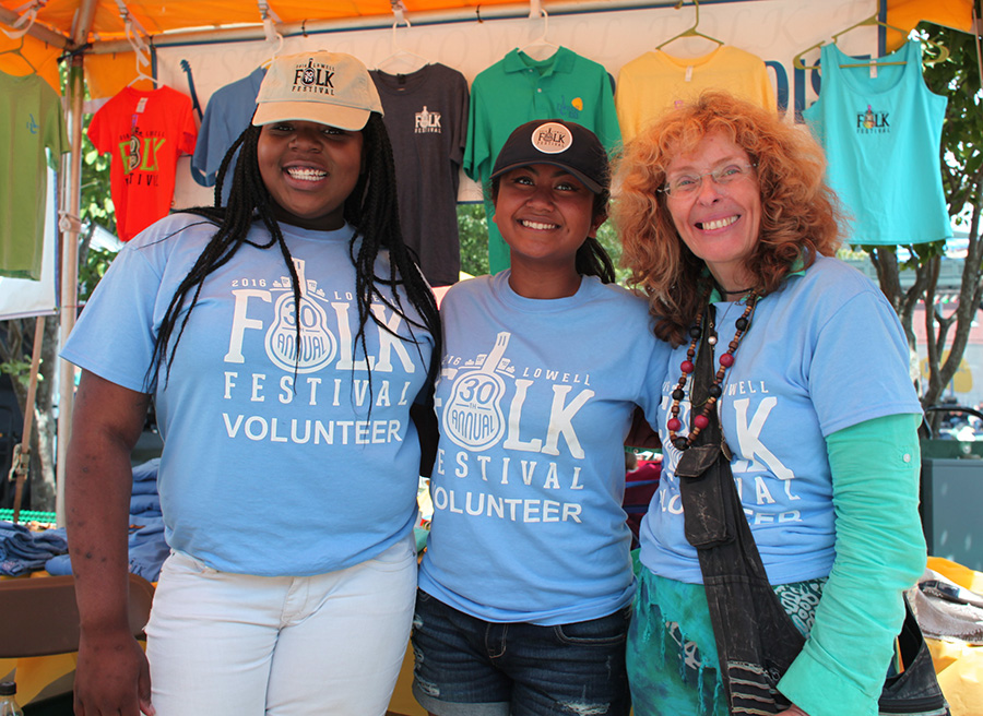 Many of the volunteers who work the Lowell Folk Festival