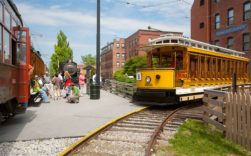 Yellow open car Lowell Trolley # 1601
