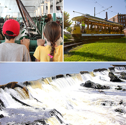 A photo collage of a waterfall, a trolley, and two small children looking at machines in a factory