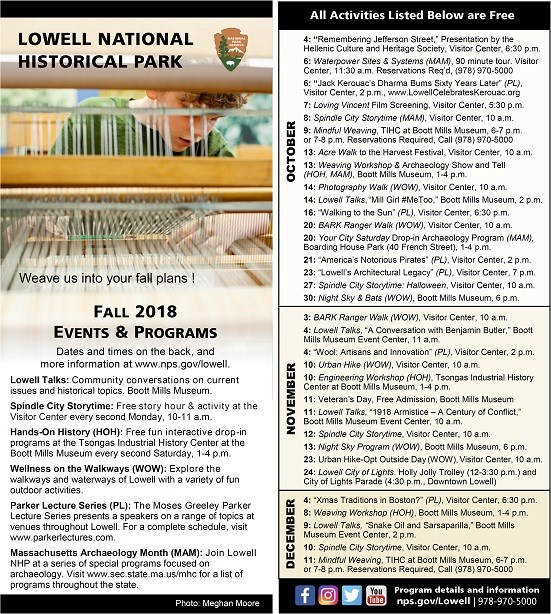 List of Park Events with image of student weaving at a floor loom