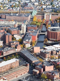 Aerial view of downtown Lowell