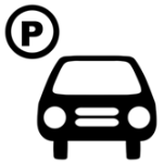 A drawing of a car next to a large letter P