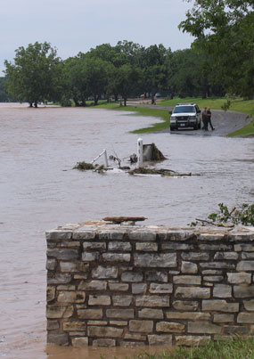 The Ranch Road is cutoff by flood waters