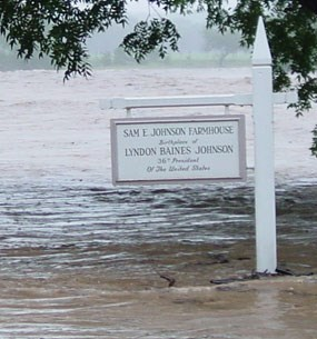 Reconstructed Birthplace Sign engulfed in 2002 flood water