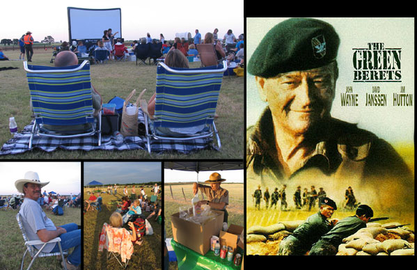 "Pictures of visitors enjoying Movies Under the Stars plus ""Green Beret"" poster"
