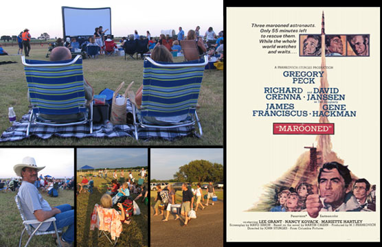 "Images of Visitors enjoying Movies Under the Stars and a ""Marooned"" movie poster."