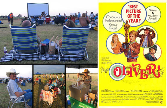 Visitors enjoying popcorn and soda as they prepare to watch a movie at the LBJ Ranch/Movie poster for <i>Oliver!</i>