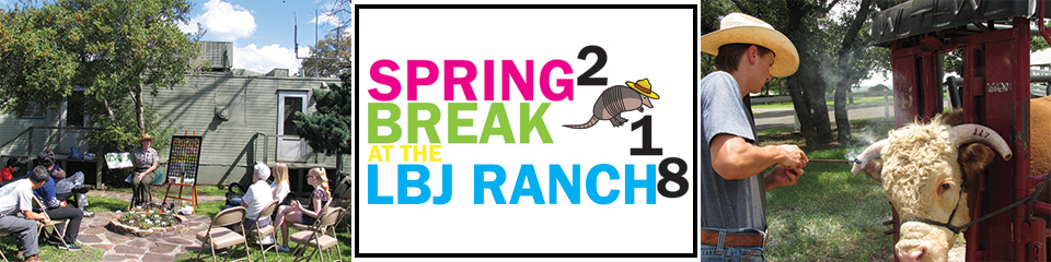 Spring Break 2018 logo and events - visitors attending wildflower talk - ranchhand hornbranding a cow