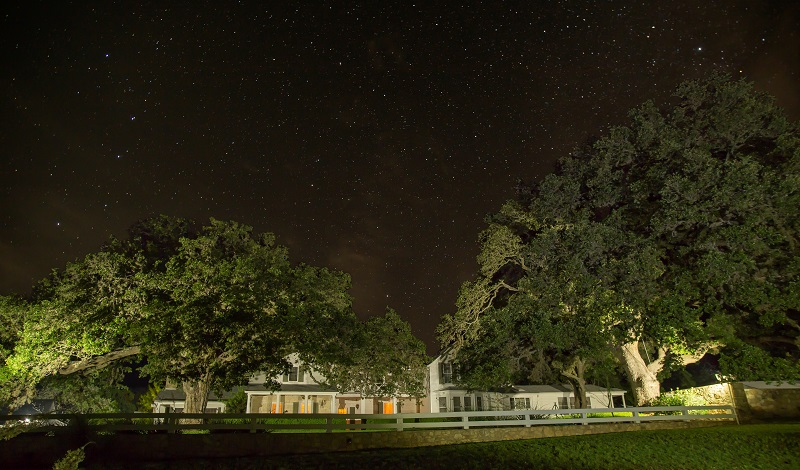 A view of the night sky over the Texas White House.