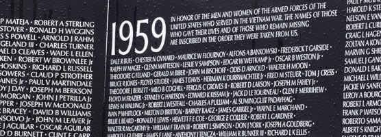 A closeup of some of the names on the Moving Wall, a replica of the Vietnam Veterans Memorial