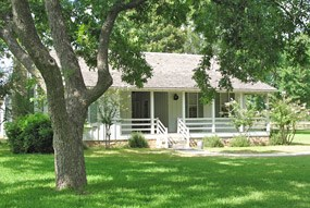 The reconstructed birthplace of President Lyndon Johnson