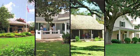 (l-r) Visitor Center, Boyhood Home, Johnson Cabin, Texas White House