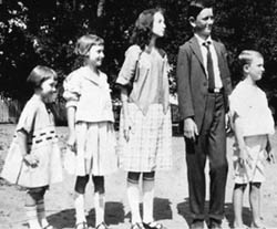 President Johnson at age 13 with brother and sisters