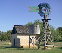 Johnson Settlement cooler house and windmill
