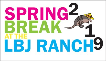 Spring Break Ranger Program logo. Includes cartoon armadillo with ranger hat.