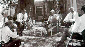 President Johnson holds a meeting on the lawn of the Texas White House