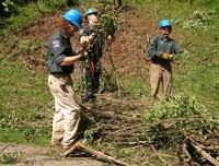 High school crewmembers in bright blue helmets help remove plant matter from a hillside.