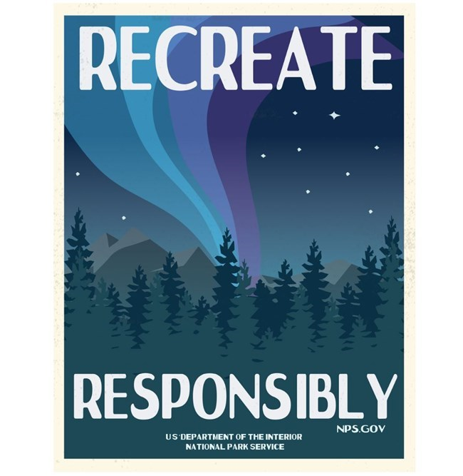 Poster of Wintry scene with Recreate responsibly text