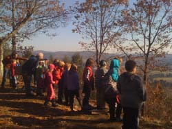 Students on Mt Tom with Mr. Souter