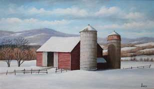 MABI 2840, Two Silos. Oil on panel, 15.3 x 25.3 cm