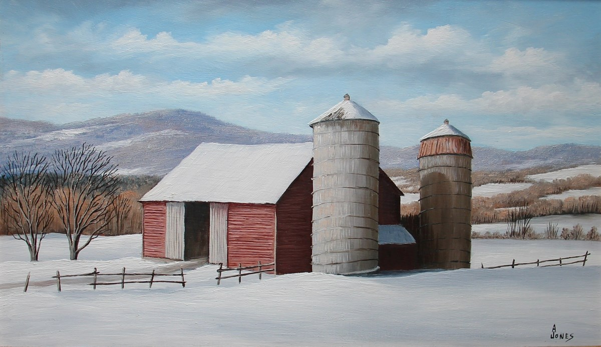 Arthur Jones, MABI 2840, Two Silos. Oil on panel, 15.3 x 25.3 cm