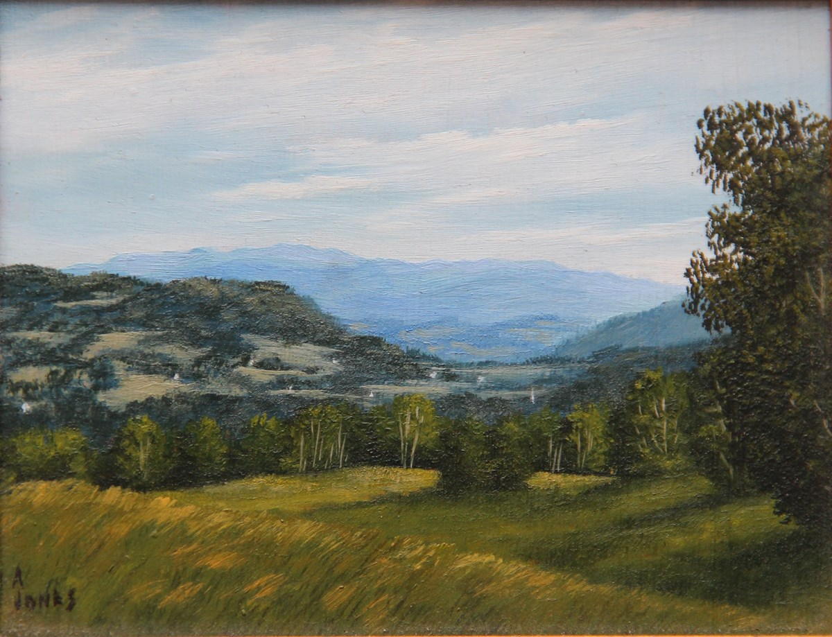Arthur Jones, MABI 2848, Pawlet View. Oil on panel, 10.6 x 13.0 cm