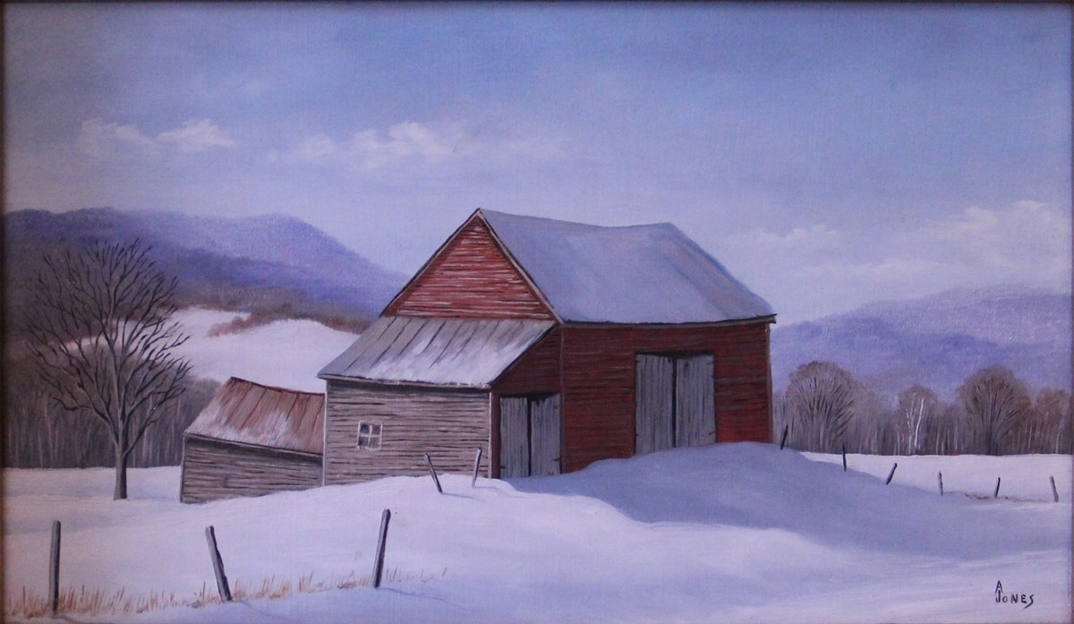 Arthur Jones, MABI 2849, Winter Afternoon. Oil on panel, 15.4 x 25.3 cm