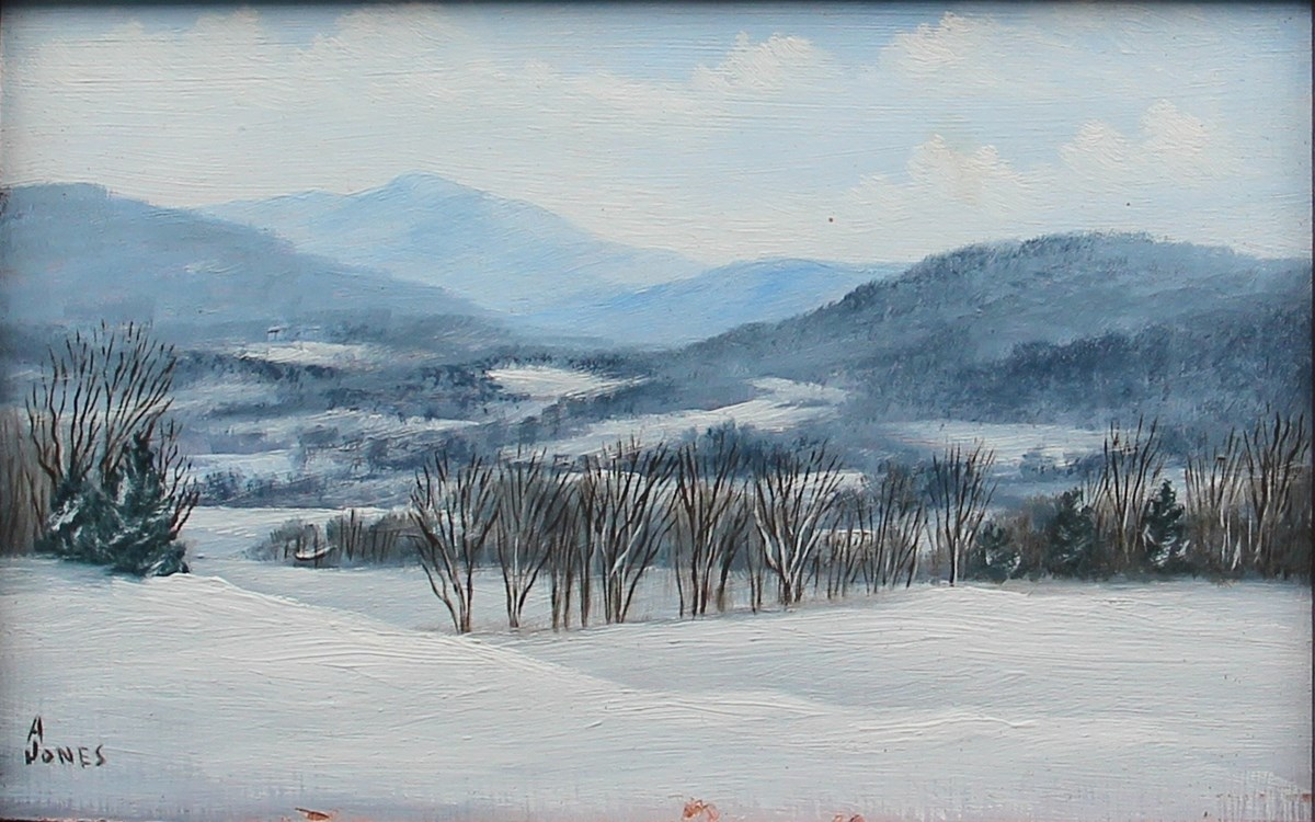 Arthur Jones, MABI 3531, Winter Vista. Oil on acrylic board, 9.4 x 14.4 cm