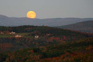 Moon rise over the hills in Vermont