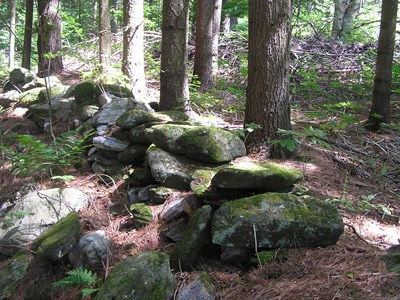 Old stone wall in the woods