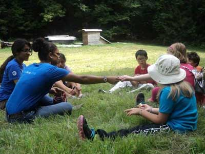 Junior Rangers Program on the lawn at the park with Interns and kids 2013