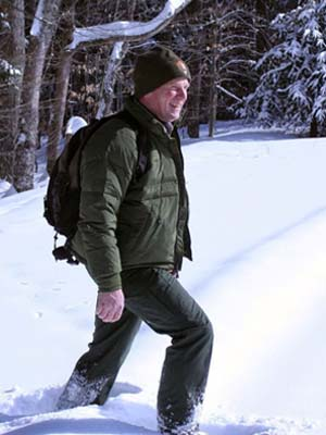 Kyle Jones on snowshoes