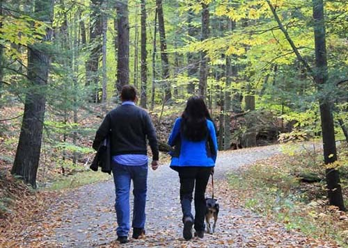 Two hikers and their dog walking up the carriage road trail in the early fall