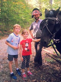 kids with horse logger