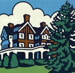A stylized and brightly-colored sketch of the three-story brick mansion. A large Norway Spruce stands to the right of the Mansion. NPS.