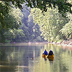 Canoes on Green River in Mammoth Cave National Park