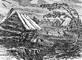 Scene of the 1811 New Madrid earthquake, with log cabins toppling and frightened people running outdoors