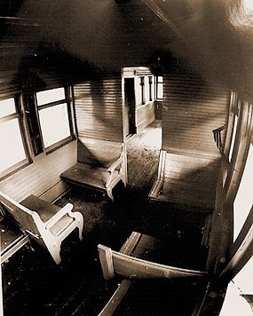Inside the combine car on the Mammoth Cave Railroad
