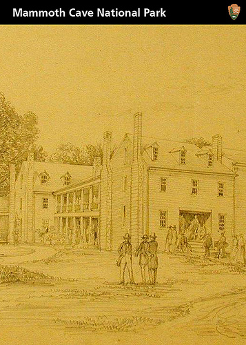Artistic sketch of the Mammoth Cave Hotel by Ferdinand Richardt