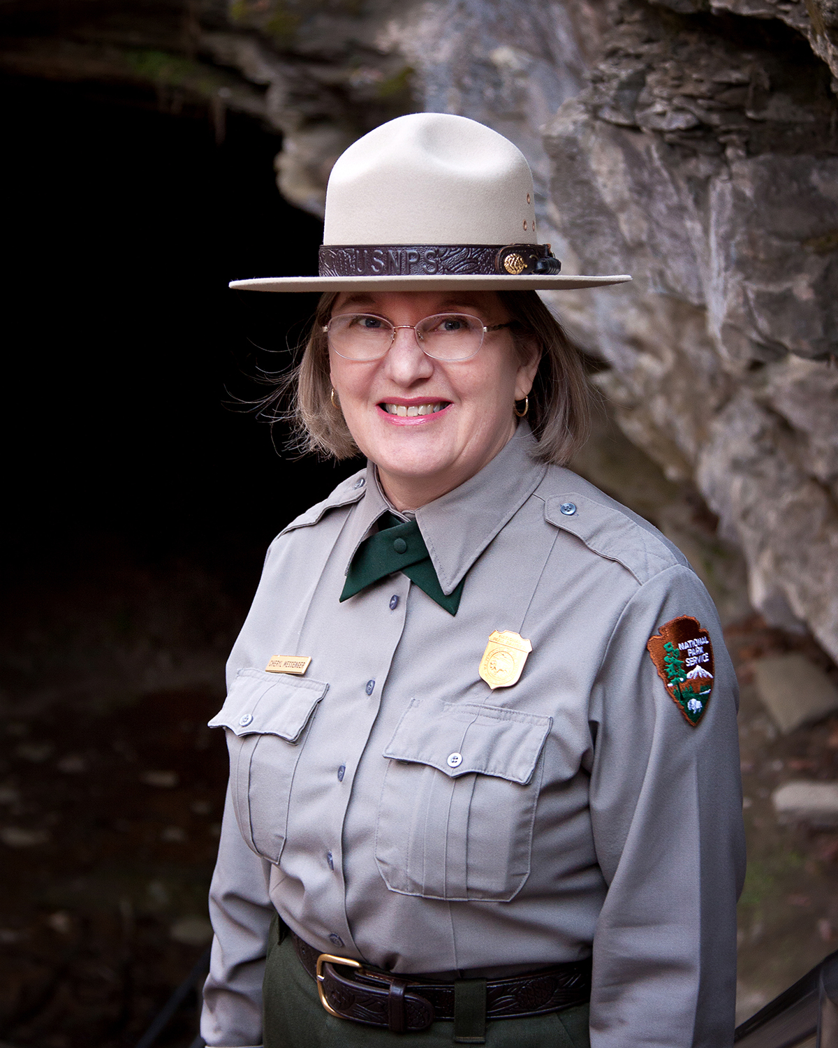 Cheryl Messenger at Historic Entrance of Mammoth Cave