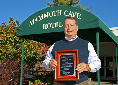 Greg Davis, manager of the Mammoth Cave Hotel, was named Hotelier of 2010 by the Kentucky Hotel and Lodging Association.