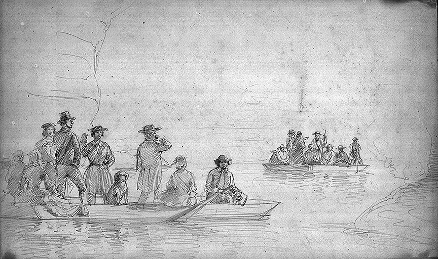 1857 Richardt sketch of boats on Echo River