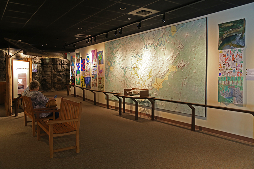 Student artwork on display in exhibit space at Mammoth Cave Visitor Center.