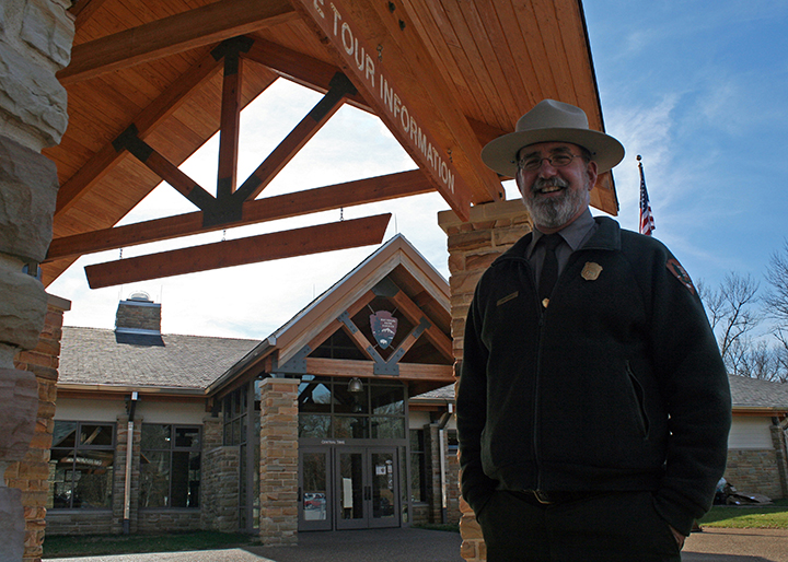 Mike Adams in front of the new Mammoth Cave visitor center.
