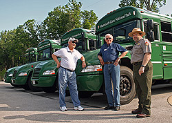 Ranger and drivers with propane-powered buses
