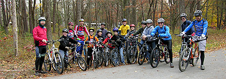 Group of mountain bikers at Mammoth Cave National Park