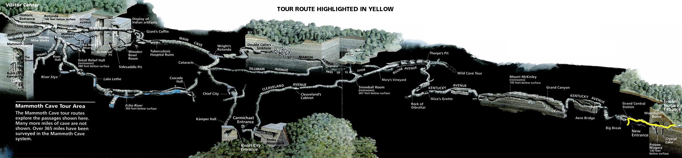 Grand Avenue Tour Mammoth Cave Map